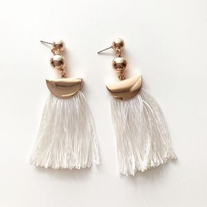 J. Crew • Gold White Tassel Fringe Earrings